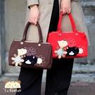 手提包~雅瑪小鋪日系貓咪包 啵啵貓小花拼貼手提包/側背包/拼布包包