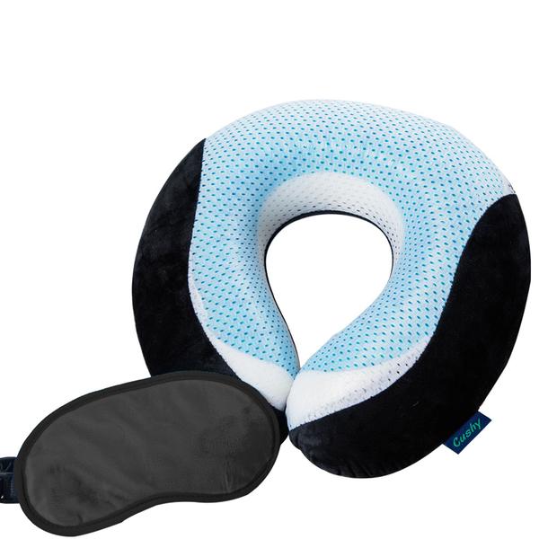 【CUSHY】涼感U型記憶枕+眼罩『時尚黑』1717031 水冷凝膠.涼感頸枕.乳膠枕.午安枕.護頸枕.U型枕