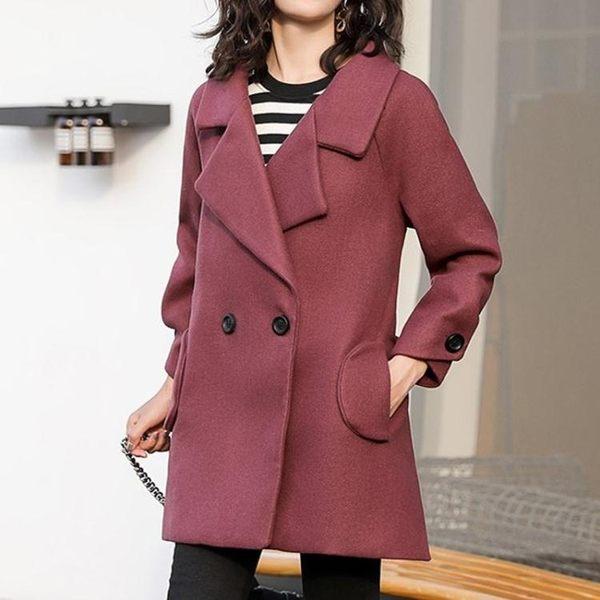 短版大衣 智宸純色寬鬆短版翻領女士大衣