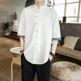 中國風亞麻t恤男短袖盤扣棉麻襯衫寬鬆男士襯衣polo衫