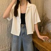 短袖襯衫 女士襯衫夏薄款2021新款潮韓版西裝領法式短款短袖襯衫【快速出貨】