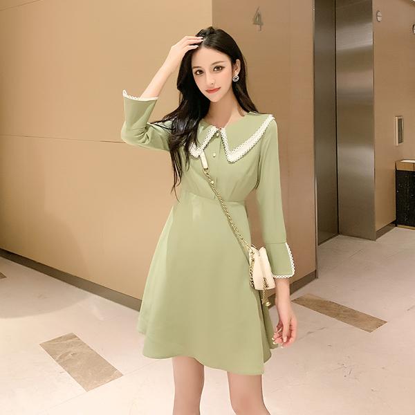 超殺出清 韓國風娃娃領修身復古時尚長袖洋裝