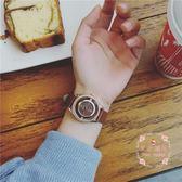 手錶  簡約流水玫瑰金鏤空石英錶