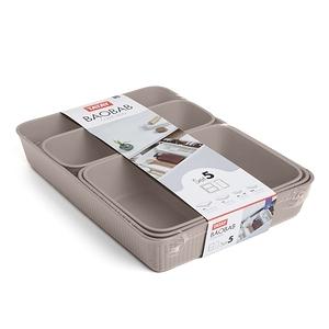 西班牙TATAY萬用收納盒-五入組(灰褐)