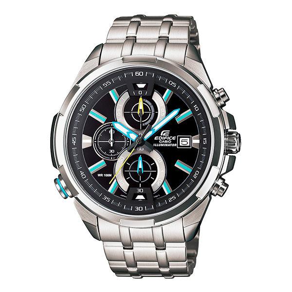 CASIO EDIFICE系列 雙黑光快感奔馳賽車運動錶-藍