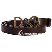 DOLCE & GABBANA 仿舊金屬logo窄版皮帶(雪茄色) 1310758-07