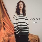 東京著衣【KODZ】簡約舒適配色橫條側綁帶蝴蝶結針織上衣-S.M.L(172522)