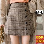★秋裝上市★MIUSTAR 學院氣質假排釦後拉鍊格紋褲裙(共2色,M-L)【NF4368SX】預購