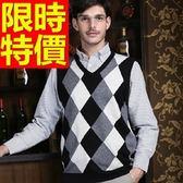 針織背心-明星同款韓版歐風V領男上衣2色61d33【巴黎精品】