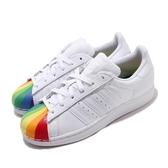 【海外限定】adidas 休閒鞋 Superstar 白 彩色 女鞋 彩虹 小白鞋 貝殼頭 百搭款 運動鞋【ACS】 EG8140