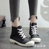 2019新款時尚帆布系帶短筒雨靴女韓版成人防滑雨鞋 QW9002『夢幻家居』