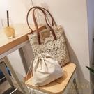 包包女韓國蕾絲手提購物袋復古夏天刺繡托特...