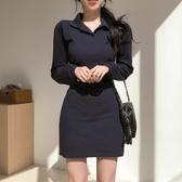快時尚 長袖洋裝 韓版秋冬襯衣領收腰顯瘦包臀連身裙HF2255593