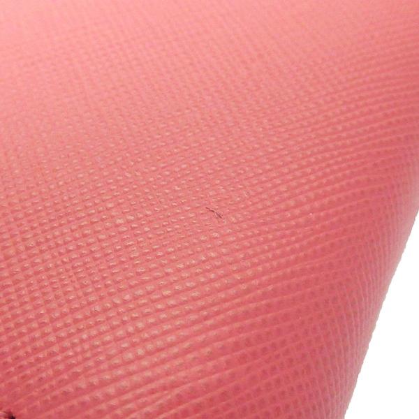 【最終低價】PRADA 普拉達 胭脂粉色防刮牛皮ㄇ字長夾 Saffiano 1M0506【BRAND OFF】