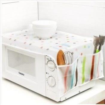 現貨 - 多彩微波爐防塵罩 雙口袋微波爐蓋巾 烤箱套
