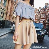 新款女裝春夏季港味復古chic漏肩套裝兩件套bf溫柔風短裙   蜜拉貝爾