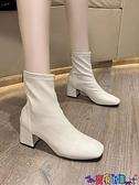 高跟短靴 短靴女高跟單靴2021秋冬新款尖頭粗跟裸靴中筒網紅瘦瘦靴彈力 寶貝計畫