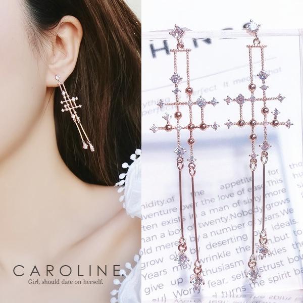 《Caroline》★韓國熱賣造型時尚 閃人耀眼水鑽  優雅性感  耳環70543