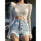 一套 破洞牛仔褲女 夏天薄款 高腰 寬鬆 直筒闊腿 短褲子 潮ins顯瘦 百搭熱褲
