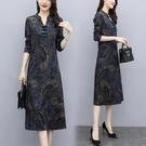 2021春季新款改良版旗袍媽媽洋裝氣質顯瘦闊太太過膝裙遮肚減齡 喵小姐