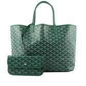 【GOYARD】Saint Louis PM 經典圖紋中型購物包(綠色) STLOUIPMLTY09CL09P