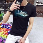短袖T恤 男潮流夏季男裝圖案衣服圓領修身T恤《印象精品》t35
