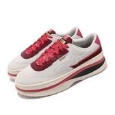 Puma 休閒鞋 Deva VD Wns 米白 麂皮 棗紅 厚底 女鞋【PUMP306】 37343401