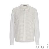 oui 米白方格蕾絲襯衫