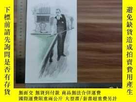 二手書博民逛書店【罕見】1890年小幅木刻版畫《雷納德·貝加斯在打桌球》(rei
