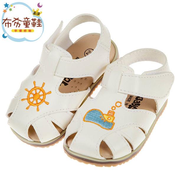 米白色皮質寶寶涼鞋