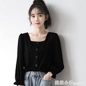 2021春季新款法式泡泡袖襯衫女黑色長袖襯衣學生顯瘦短款方領上衣 范思蓮恩