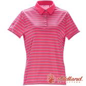 【wildland 荒野】女 涼感抗UV條紋POLO上衣『桃紅』0A71601 上衣 休閒 戶外 登山 吸濕 排汗 條紋