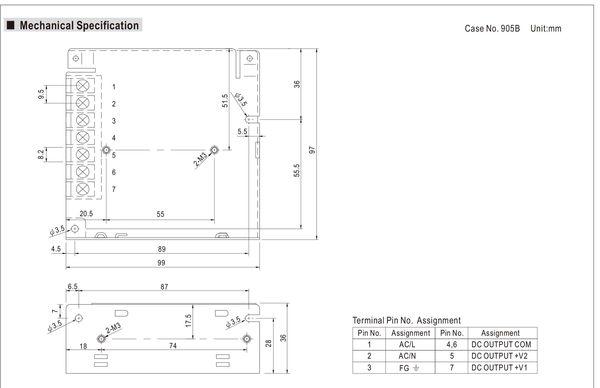 明緯MW 5V/6A 12V/3A 50W RD-50A 機殼型(Enclosed Type)交換式電源供應器