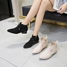 踝靴 切爾西靴女潮秋冬季尖頭顯瘦及踝靴側拉鏈蝴蝶結粗跟短靴 芊墨