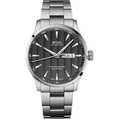 MIDO 美度 Multifort 先鋒系列80小時天文台矽游絲機械錶-灰黑x42mm M0384311106100