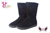 ISAO韓版女款雪靴 真皮內裡鋪毛保暖長靴M8065#黑色◆OSOME奧森童鞋