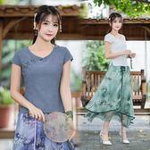 短袖T恤 棉麻中式文藝范冷漠風花瓣盤扣短袖上衣襯衣T恤