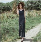 2019夏新款巴厘島性感繫帶V領露背開叉吊帶裙禮服長裙 伊蒂斯女裝