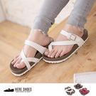 [Here Shoes] 台灣製 撞色皮革 3.5CM厚底 套指夾腳拖鞋 3色─AW205