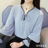 燈籠袖長袖雪紡衫 2018新款女洋氣鏤空襯衫蕾絲衫 BF14566『寶貝兒童裝』