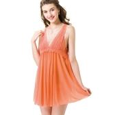 思薇爾-撩波系列連身蕾絲性感小夜衣(蜜誘橘)