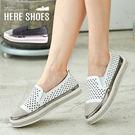 [Here Shoes]懶人鞋-跟高3CM 鞋頭水鑽 三角型透氣孔洞 舒適好穿拖 懶人鞋 休閒鞋-KDNZC18
