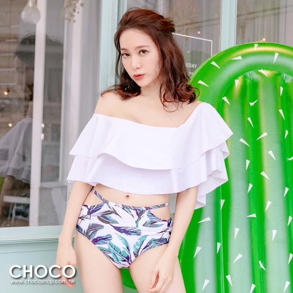 Choco Shop-蔚藍海岸.熱帶印花平口荷葉二件式泳衣(白色) S~XL