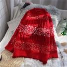 聖誕毛衣2019秋冬圣誕大紅色復古毛衣女套頭寬鬆慵懶風打底針織上衣 雲朵走走
