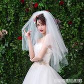 新娘短款頭紗純紗頭飾網紅拍照攝影道具旅拍婚紗超仙簡約女頭紗 居家物語