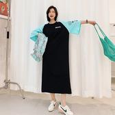 韓 連身裙 長版T L-3XL6236# 實拍 現貨 春夏新款/長款大碼女裝拼色袖子短袖連衣裙景1F5.1號公館