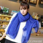韓版棉麻絲巾女士圍巾學生純色日繫文藝百搭披肩長款兩用  潮流前線