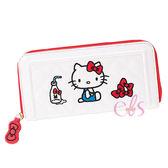 Hello Kitty 凱蒂貓 皮革菱紋長夾 白底蝴蝶結 ☆艾莉莎ELS☆