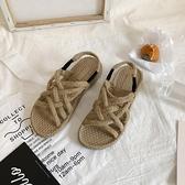 草編涼鞋女學生韓版百搭年新款夏季ins潮仙女風麻繩沙灘平底 格蘭小鋪