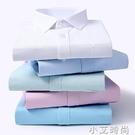 雪尚飛長袖襯衫男士春夏藍色職業裝修身純色商務襯衣男藍短袖男裝 小艾新品